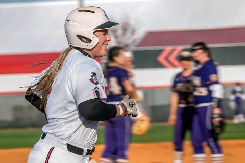 Austin Peay Softball junior Danielle Liermann connects for three home runs in Govs 12-4 victory over Radford, Friday. (APSU Sports Information)