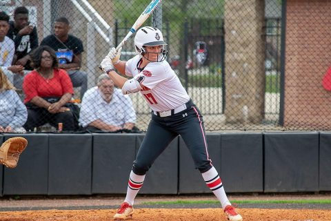 Austin Peay Softball sophomore Kelsey Gross hits a three run homer to secure the Govs victory over Michigan State, 5-2. (APSU Sports Information)