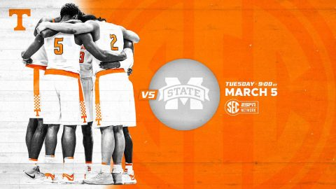 Tennessee Men's Basketball plays Mississippi State at Thompson-Boling Arena, Tuesday night. (UT Athletics)