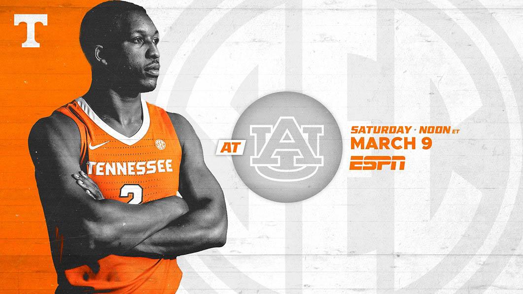 Tennessee Men's Basketball heads to Auburn Saturday for final regular season game. (UT Athletics)