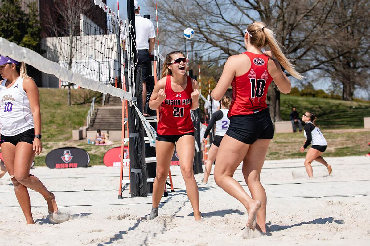 Austin Peay Beach Volleyball defeated Morehead State in the first match 3-2 but fell to the Eagles in the second match 3-2. (APSU Sports Information)