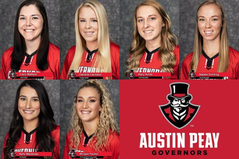2019 APSU Softball - Carly Mattson, Danielle Liermann, Kacy Acree, Natalie Schilling, Kelly Mardones and Morgan Rackel