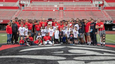 Austin Peay Football held Operation Teammate for 20 Fort Campbell children of military parents at Fortera Stadium, Saturday. (APSU Sports Information)