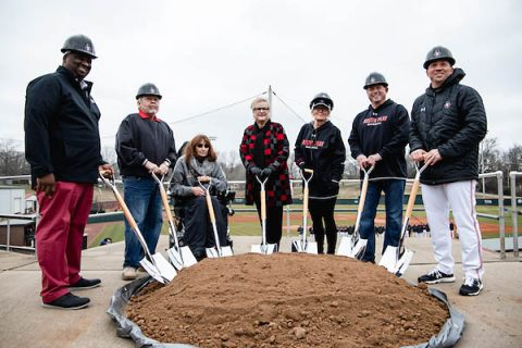 Austin Peay State University Director of Athletics Gerald Harrison is joined by Joe and Cathi Maynard, APSU president Dr. Alisa White, Linda and Doug Downey and Governors baseball head coach Travis Janssen in a ceremonial groundbreaking for the Governors new baseball clubhouse in February. (Robert Smith, APSU Sports Information)
