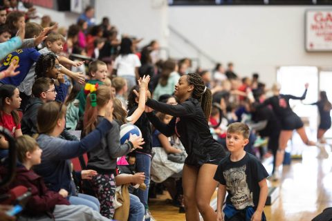 The Austin Peay State University women's volleyball team capped the day with an intrasquad scrimmage.