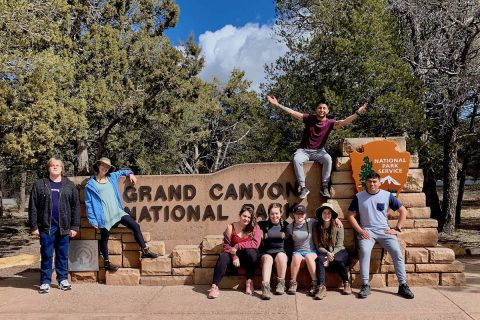 Austin Peay State University students who went on the Grand Canyon trip were, from the left, Cody Bricker, Rebecca Thomack, Anaelle Maudet, Annabelle Spencer, Goodwin Brown, Alex Arriaga (on sign), Gwynevere Cardinal and Luis Soto.