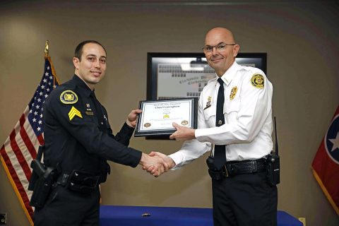 Clarksville Police Detective Chris Cunningham to Sergeant at a ceremony held Monday, March 18th.