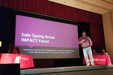 John Mark Adkins speaks at the Spring Break Distracted Driving IMPACT Panel.