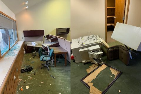 Clarksville Police say four bored juveniles caused wide spread damage to Eubanks Office located at 2294 Eubanks Drive. (Eubanks)