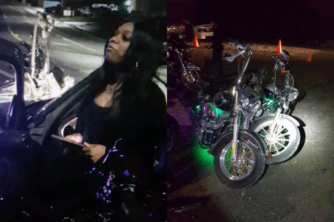 Clarksville Police charge Cheri Green for hitting the motorcycles on the right then fleeing the scene.