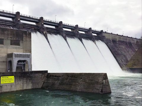 Dale Hollow Dam on the Obey River in Celina, Tennessee, discharges water March 4th, 2019. (Don Busbice, USACE)