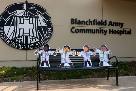 Children's book character Flat Stanley, along with some of his friends, will spend spring break at Blanchfield Army Community Hospital beginning March 25. Hospital staff will document their visit through letters and photos for students at Northeast Middle School, but members of the community may also follow along on the Blanchfield_Hospital Instagram page. (U.S. Army photo by Maria Yager)
