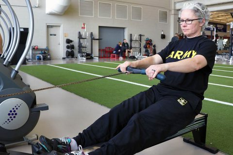 Master Sgt. Cinnamon Wright practices rowing at Shaw Gym Feb. 28. Wright is one of four Soldiers from Fort Campbell's Warrior Transition Battalion heading to the Army Trials at Fort Bliss, Texas, this week, to compete for a spot on Team Army in the 2019 Warrior Games later this year. Adaptive reconditioning activities including rowing are linked to a variety of benefits for Wounded Warriors, and assists in their overall rehabilitation and recovery. (U.S. Army photo by Maria Yager)