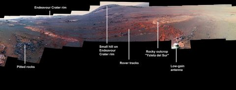 This image is a cropped version of the last 360-degree panorama taken by the Opportunity rover's Panoramic Camera (Pancam) from May 13 through June 10, 2018. The view is presented in false color to make some differences between materials easier to see. (NASA/JPL-Caltech/Cornell/ASU)