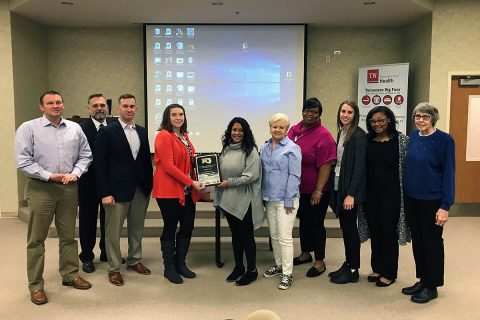 (L to R) Joey Smith, Montgomery County Health Department Director; Chris Locke, NorthCrest Marketing and Development Director; Adam Tomlinson, Montgomery County Health Department Intern; Carlye Sommers, Green Certification Program Manager; Sanjana Stamm, Tennessee Department of Health Mid-Cumberland Regional Director; Loretta Bryant, Montgomery County Commissioner; Sharlinda Robertson, Matthew Walker Comprehensive Health Center Representative; Morganne Cook Montgomery County Health Department Health Educator; Teanna Hayes, Montgomery County Health Department Health Educator; Bertha Drew, National Alliance of Mental Illness Representative.