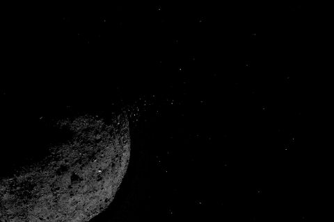 This view of asteroid Bennu ejecting particles from its surface on January 19 was created by combining two images taken on board NASA's OSIRIS-REx spacecraft. Other image processing techniques were also applied, such as cropping and adjusting the brightness and contrast of each image. (NASA/Goddard/University of Arizona/Lockheed Martin)