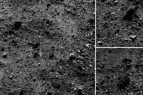 NASA's OSIRIS-REx spacecraft was able to capture a region of asteroid Bennu's Northern Hemisphere close up uisng it's MapCam camera and PolyCam camera. (NASA/Goddard/University of Arizona)