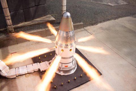The attitude control motor fires during a test at Northrop Grumman's facility in Elkton, MD. (Northrop Grumman)