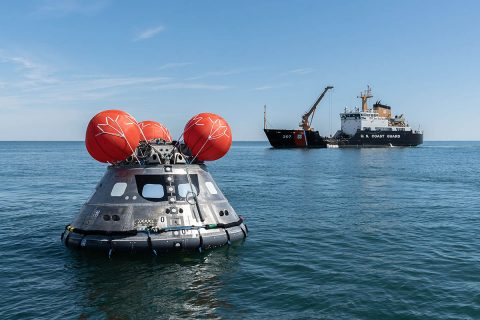 NASA tested Orion's crew module uprighting system off the Coast of North Carolina in March 2018. (NASA)