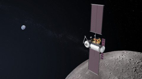 In this artist's concept image, the Gateway is shown mid-assembly. The first logistics module carrying cargo and other goods is docked to the spaceship as it orbits the Moon. (NASA)