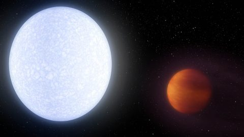 "This artist's concept shows planet KELT-9b, an example of a ""hot Jupiter,"" or a gas giant planet orbiting very close to its parent star. KELT-9b is an extreme example of a hot Jupiter, with dayside temperatures reaching 7,800 degrees Fahrenheit (4,300 Celcius). (NASA/JPL-Caltech)"