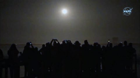 Crowd gathers to watch as NASA and SpaceX make history by launching the first commercially-built and operated American crew spacecraft and rocket to the International Space Station. The SpaceX Crew Dragon spacecraft lifted off at 2:49 a.m. EST Saturday on the company's Falcon 9 rocket at NASA's Kennedy Space Center in Florida. (NASA)