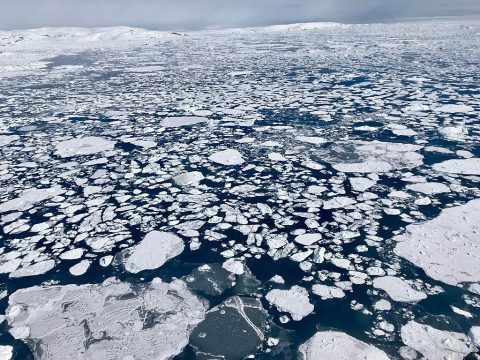 A big lead, or opening in the sea ice pack, in the eastern Beaufort Sea, as seen from a NASA Operation IceBridge survey flight on Apr. 14, 2018. (NASA/Linette Boisvert)