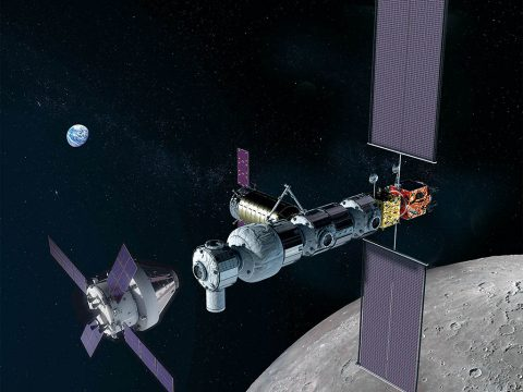 In this illustration, NASA's Orion spacecraft approaches the Gateway in lunar orbit. (NASA)