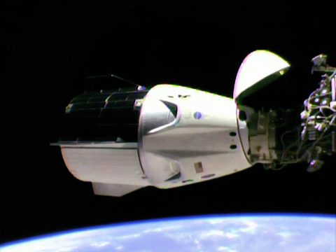 The SpaceX Crew Dragon is docked to the station's international docking adapter which is attached to the forward end of the Harmony module. (NASA TV)