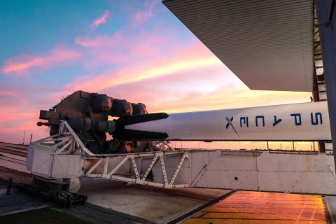 A SpaceX Falcon 9 rocket with the company's Crew Dragon attached, rolls out of the company's hangar at NASA Kennedy Space Center's Launch Complex 39A on Jan. 3, 2019. The rocket will undergo checkouts prior to the liftoff of Demo-1, the inaugural flight of one of the spacecraft designed to take NASA astronauts to and from the International Space Station. (SpaceX)