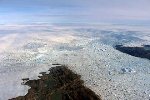 The calving front of Jakobshavn Glacier, center. (NASA/OIB/John Sonntag)