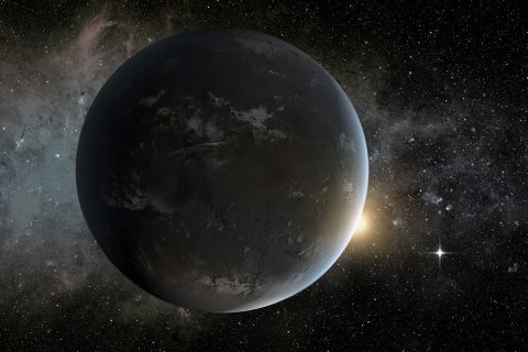 This is an artist's concept of a planet orbiting in the habitable zone of a K star. (NASA Ames/JPL-Caltech/Tim Pyle)