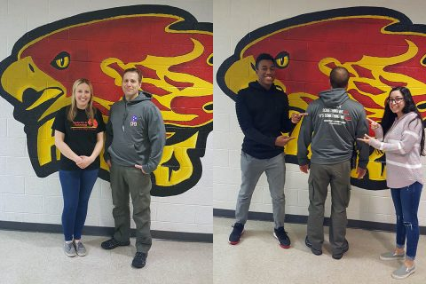 Rossview High School Teacher Ms Hannah Brooks and Clarksville Police Sgt Rodney Lifsey in left photo. Strati Young, Sgt Rodney Lifsey, and Lorren Bonney in the right photo.
