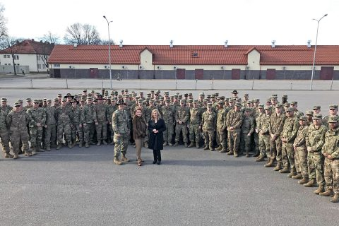 Senator Marsha Blackburn Tennessee Army National Guard serving overseas in Poland and Ukraine.