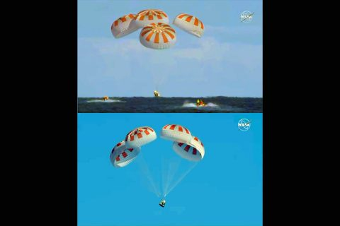 Completing an end-to-end uncrewed flight test, Demo-1, SpaceX's Crew Dragon departed the International Space Station at 1:32am CST Friday, March 8, 2019, and splashed down at 8:45 a.m. in the Atlantic Ocean about 200 nautical miles off the Florida coast. (NASA Television)