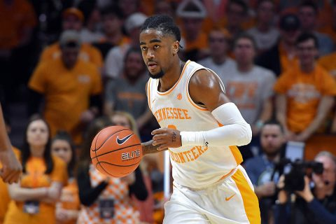 Tennessee Volunteers guard Jordan Bone (0) brings the ball up court against the Kentucky Wildcats during the first half at Thompson-Boling Arena. (Randy Sartin-USA TODAY Sports)