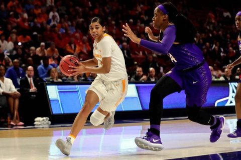 Tennessee Women's Basketball sophomore Evina Westbrook scored 9 points Thursday in win over LSU in the SEC Tournament. (UT Athletics)