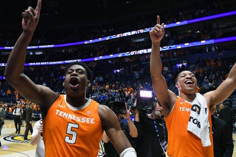 Tennessee Volunteers forward Grant Williams (2) and Volunteers guard Admiral Schofield (5) celebrate after defeating the Kentucky Wildcats in the SEC conference tournament at Bridgestone Arena. (Christopher Hanewinckel-USA TODAY)