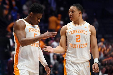 Tennessee Volunteers guard Admiral Schofield (5) and forward Grant Williams (2) celebrate after a win against the Mississippi State Bulldogs in the SEC conference tournament at Bridgestone Arena. (Christopher Hanewinckel-USA TODAY Sports)