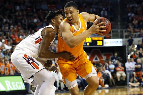 Tennessee Volunteers forward Grant Williams (2) drives against Auburn Tigers forward Anfernee McLemore (24) during the first half at Auburn Arena. (John Reed-USA TODAY Sports)