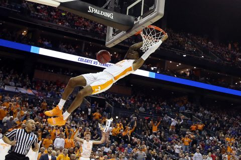 Tennessee Volunteers guard Jordan Bowden (23) dunks the ball in the second half against the Colgate Raiders in the first round of the 2019 NCAA Tournament at Nationwide Arena. (Kevin Jairaj-USA TODAY Sports)
