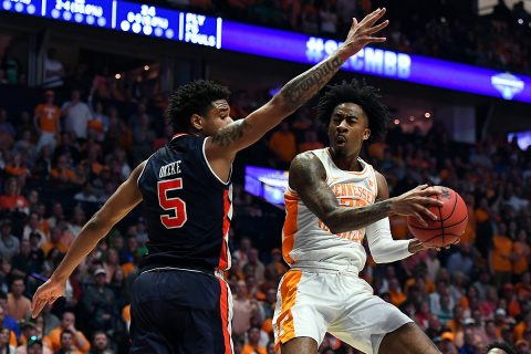 Tennessee Volunteers guard Jordan Bowden (23) makes a shot around Auburn Tigers forward Chuma Okeke (5) to end the first half in the SEC conference tournament championship game at Bridgestone Arena. (Christopher Hanewinckel-USA TODAY Sports)