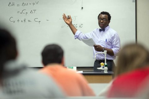 Austin Peay State University chemistry professor Dr. Allen Chaparadza lectures during a chemistry class in the Sundquist Science Center on campus. (APSU)