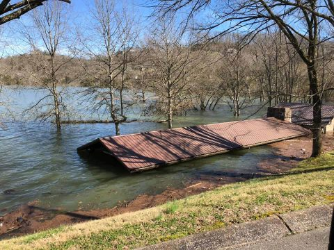 High water at Center Hill Lake submerges a pavilion and bathroom at Floating Mill Park in Silver Point, Tennessee, Feb. 25, 2019. The U.S. Army Corps of Engineers Nashville District is assessing damage to recreation facilities at its 10 lakes in the Cumberland River Basin as high waters recede. (John Malone, USACE)