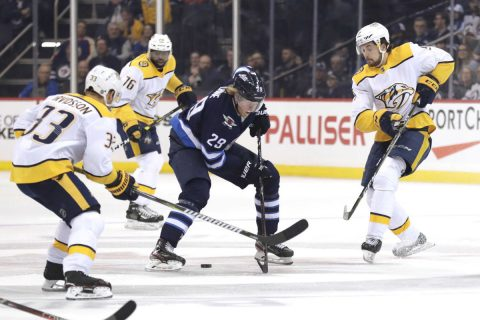 Mar 23, 2019; Winnipeg, Manitoba, CAN; Winnipeg Jets right wing Patrik Laine (29) skates towards Nashville Predators right wing Viktor Arvidsson (33) in the first period at Bell MTS Place. Mandatory Credit: James Carey Lauder-USA TODAY Sports