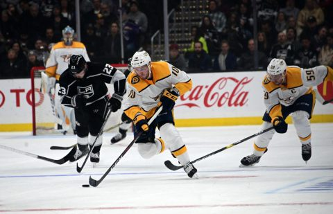 Nashville Predators center Colton Sissons (10) moves the puck against the Los Angeles Kings in the first period at Staples Center. (Kirby Lee-USA TODAY Sports)
