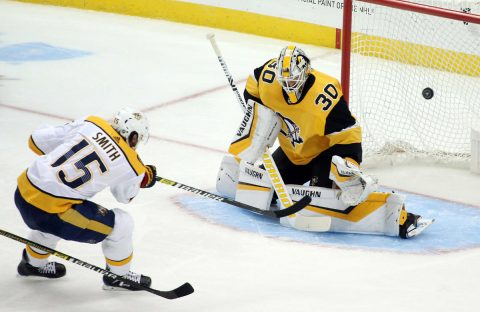 Mar 29, 2019; Pittsburgh, PA, USA; Pittsburgh Penguins goaltender Matt Murray (30) makes a save against Nashville Predators right wing Craig Smith (15) during the second period at PPG PAINTS Arena. Mandatory Credit: Charles LeClaire-USA TODAY Sports