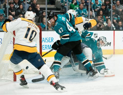 Mar 16, 2019; San Jose, CA, USA; Nashville Predators center Colton Sissons (10) shoots and scores a goal againstSan Jose Sharks defenseman Joakim Ryan (47) in the first period at SAP Center at San Jose. Mandatory Credit: John Hefti-USA TODAY Sports