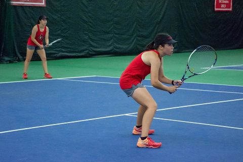 Austin Peay Women's Tennis doubles team of Claudia Yanes Garcia and Lidia Yanes Garcia won their match 6-4. (APSU Sports Information)