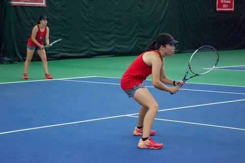 Austin Peay Women's Tennis doubles team of Claudia Yanes Garcia and Lidia Yanes Garcia won their match 6-4. (APSU Sports Information)